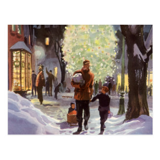 Vintage Christmas, Father Shopping with the Kids Postcard