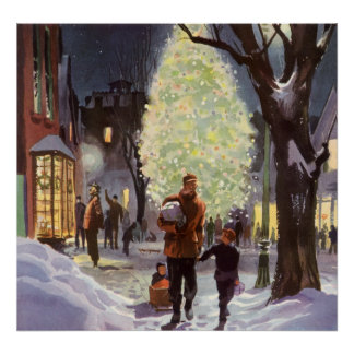 Vintage Christmas, Father Shopping with the Kids Poster