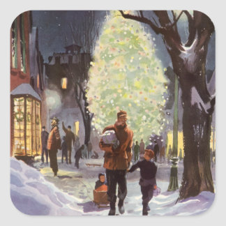 Vintage Christmas, Father Shopping with the Kids Square Sticker