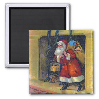 Vintage Christmas Fireplace Santa Claus Magnet