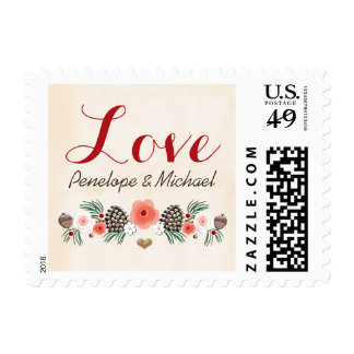 Vintage Christmas Floral Pine Cone Wedding Love Postage