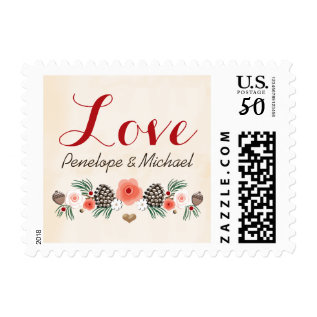 Vintage Christmas Floral Pine Cone Wedding Love Postage at Zazzle