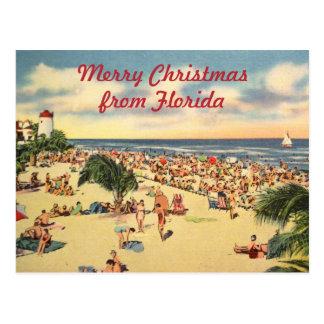 Vintage Christmas Florida Beach Greeting Postcard