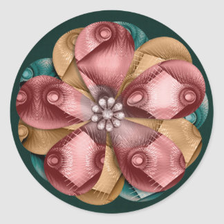Vintage Christmas Flower Art Round Stickers