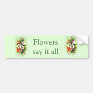 Vintage Christmas, Flowers and berries Bumper Sticker