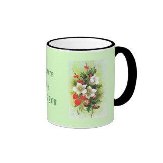 Vintage Christmas Flowers and berries Coffee Mug