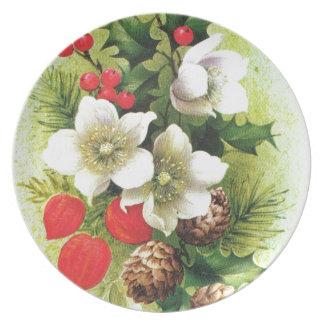 Vintage Christmas Flowers and berries Plate