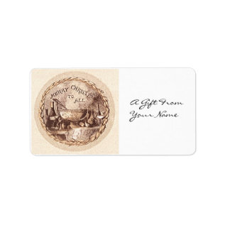 Vintage Christmas Food And Drink Gift Tag Label at Zazzle