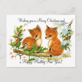 Vintage Christmas Foxes Holiday Postcard