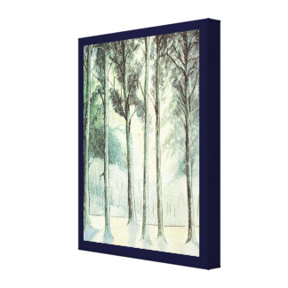 Vintage Christmas, Frosted woodland Canvas Print
