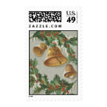 Vintage Christmas Frozen Bells and Holly Postage Stamp