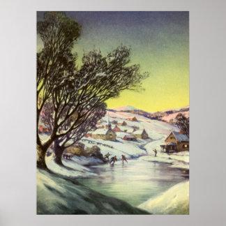 Vintage Christmas Frozen Lake Snowscape Poster