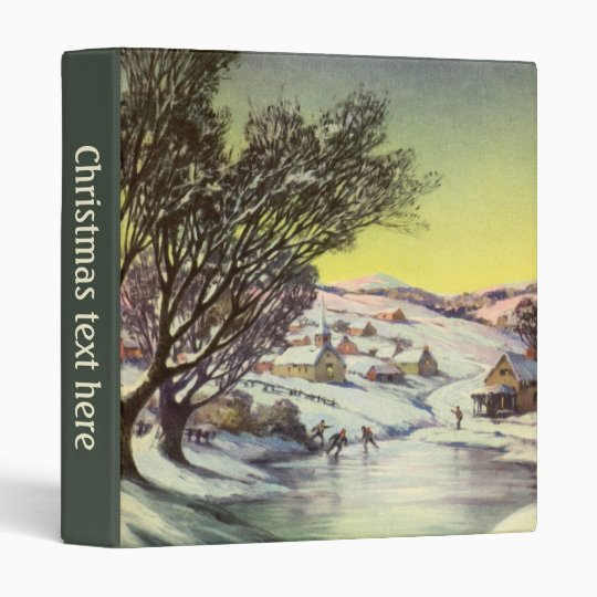 Vintage Christmas,  Frozen Lake with Ice Skaters Binder
