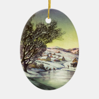 Vintage Christmas Frozen Lake with Ice Skaters Christmas Ornament