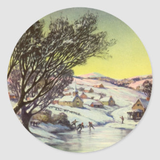 Vintage Christmas Frozen Lake with Ice Skaters Round Sticker