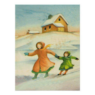 Vintage Christmas, Fun on the slopes Poster