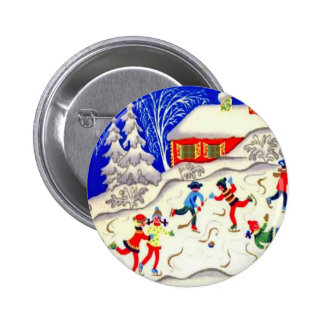 Vintage Christmas fun, Skating on the pond 2 Inch Round Button