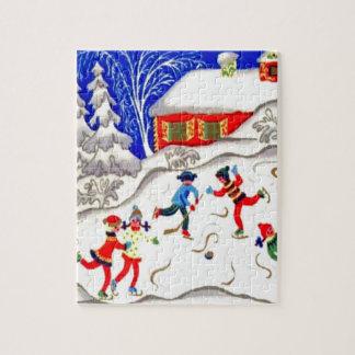 Vintage Christmas fun, Skating on the pond Jigsaw Puzzles