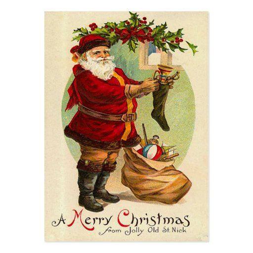Vintage Christmas Gift Tags Large Business Cards (Pack Of 100 ...