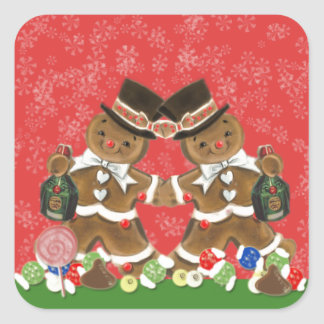 Vintage Christmas Gingerbread Men Hats & Bottlle Square Sticker