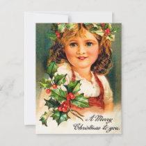 Vintage Christmas girl add message card