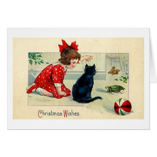 Vintage Christmas Girl and Black Cat Greeting Card