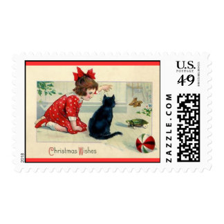 Vintage Christmas Girl and Cat Postage
