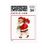 Vintage Christmas Girl and Poinsettia Bouquet v2 Postage Stamps
