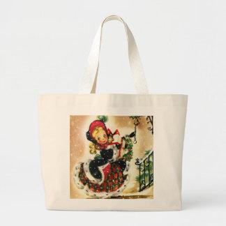 Vintage Christmas Girl Canvas Bags