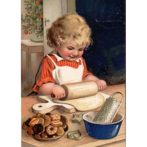 Vintage Christmas - Girl Baking Cookies card