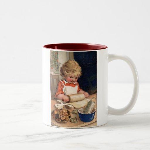 Vintage Christmas - Girl Baking Cookies Mugs