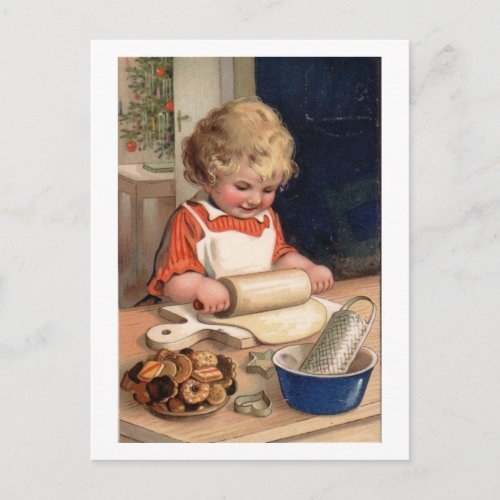 Vintage Christmas - Girl Baking Cookies Post Cards
