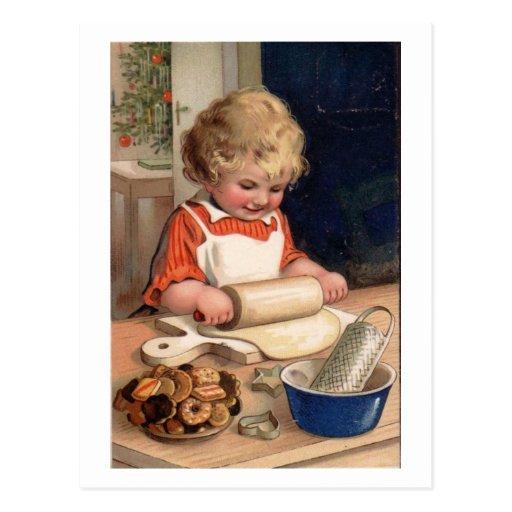 Vintage Christmas - Girl Baking Cookies Postcard