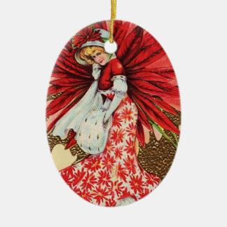 Vintage Christmas Girl Ceramic Ornament