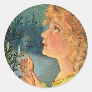 Vintage Christmas Girl Classic Round Sticker