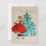 "Vintage Christmas Girl Decorating Tree Holiday Card<br><div class=""desc"">Vintage Christmas Girl Decorating Tree.</div>"