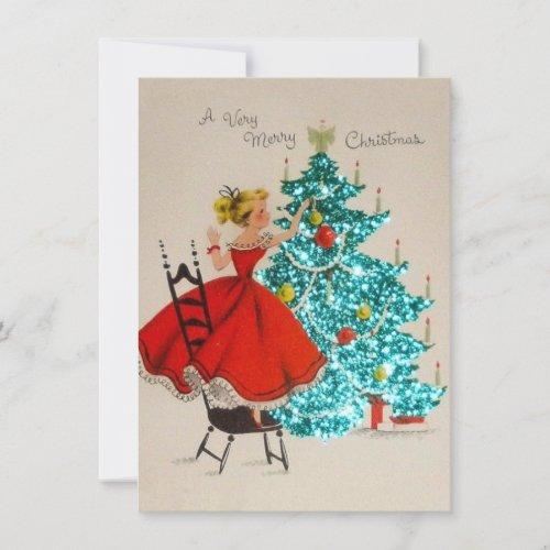 Vintage Christmas Girl Decorating Tree Holiday Card