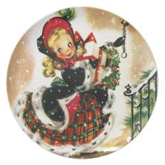 Vintage Christmas Girl Dinner Plates