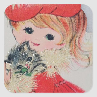 Vintage Christmas Girl Holding Kitty Square Sticker