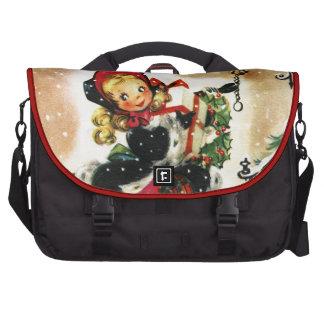 Vintage Christmas Girl Laptop Bag