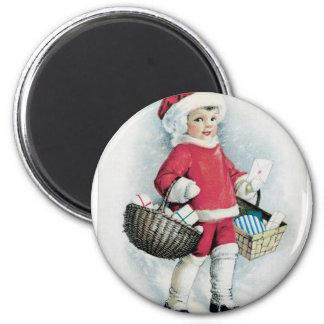 Vintage Christmas Girl Magnet