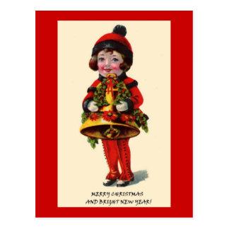 Vintage Christmas Girl Post Card