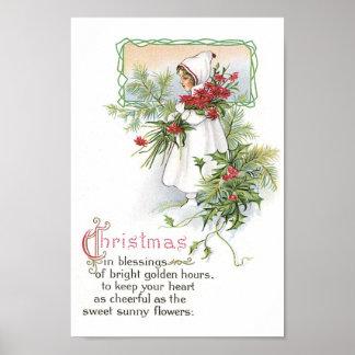 Vintage Christmas Girl Poster