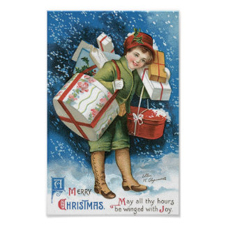 Vintage Christmas, Girl Presents Winter Snow Storm Posters