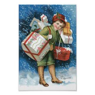 Vintage Christmas, Girl Presents Winter Snow Storm Poster