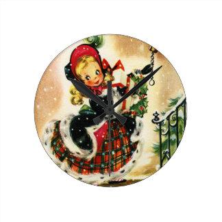 Vintage Christmas Girl Round Clock