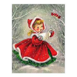 Vintage Christmas Girl Singing To Birds Postcard