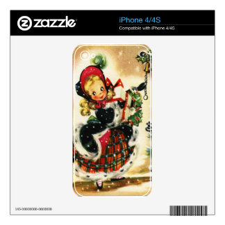 Vintage Christmas Girl Skin For iPhone 4