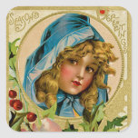 Vintage Christmas Girl Sticker