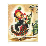 Vintage Christmas Girl Wall Canvas Stretched Canvas Prints